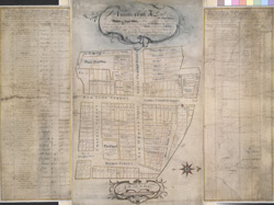 [A drawn plan showing the houses in Great and Little Ormond Streets, Red Lyon Street, Lamb's Conduit Street, and Millman Street]